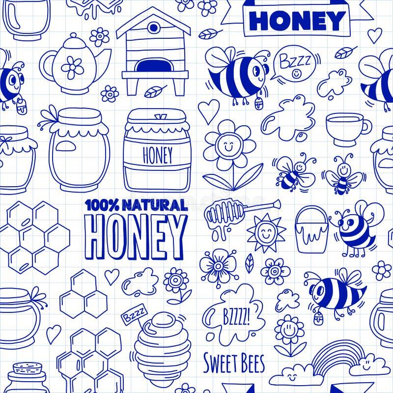 无缝的样式蜂蜜市场,义卖市场,蜂,花,瓶子,蜂窝,蜂箱,斑点蜂蜜公平的乱画图象  向量例证