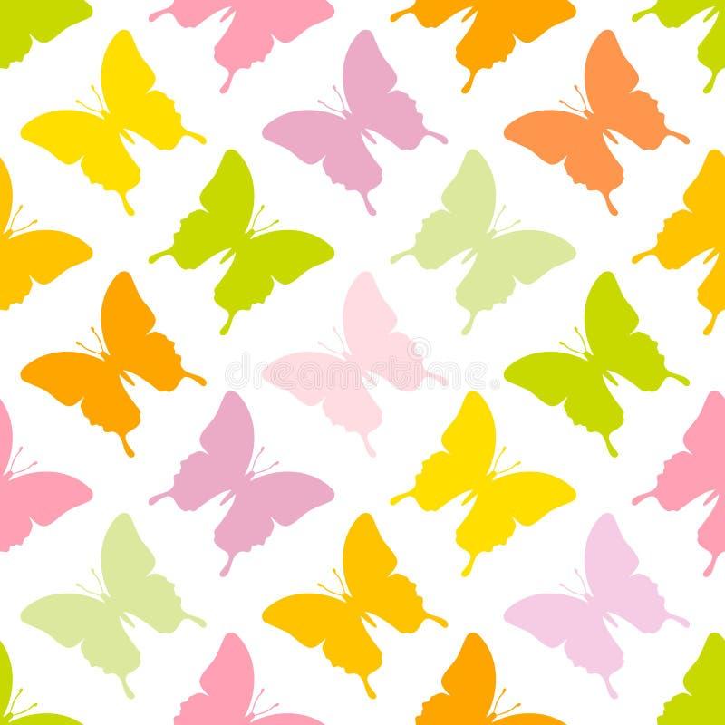 无缝的样式蝴蝶绿色桃红色橙黄 库存例证
