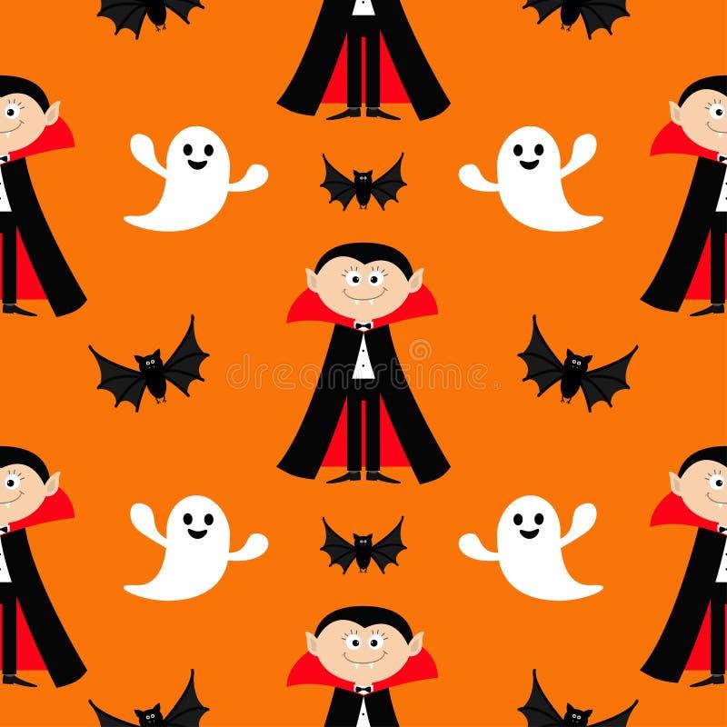 无缝的样式计数德雷库拉,飞行的棒,鬼魂精神 与犬齿的逗人喜爱的动画片吸血鬼字符 愉快的万圣夜纹理 fla 库存例证