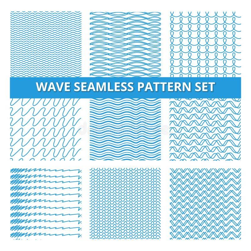 无缝的样式设置了与杂文线和波浪 传染媒介手拉的图片 向量例证