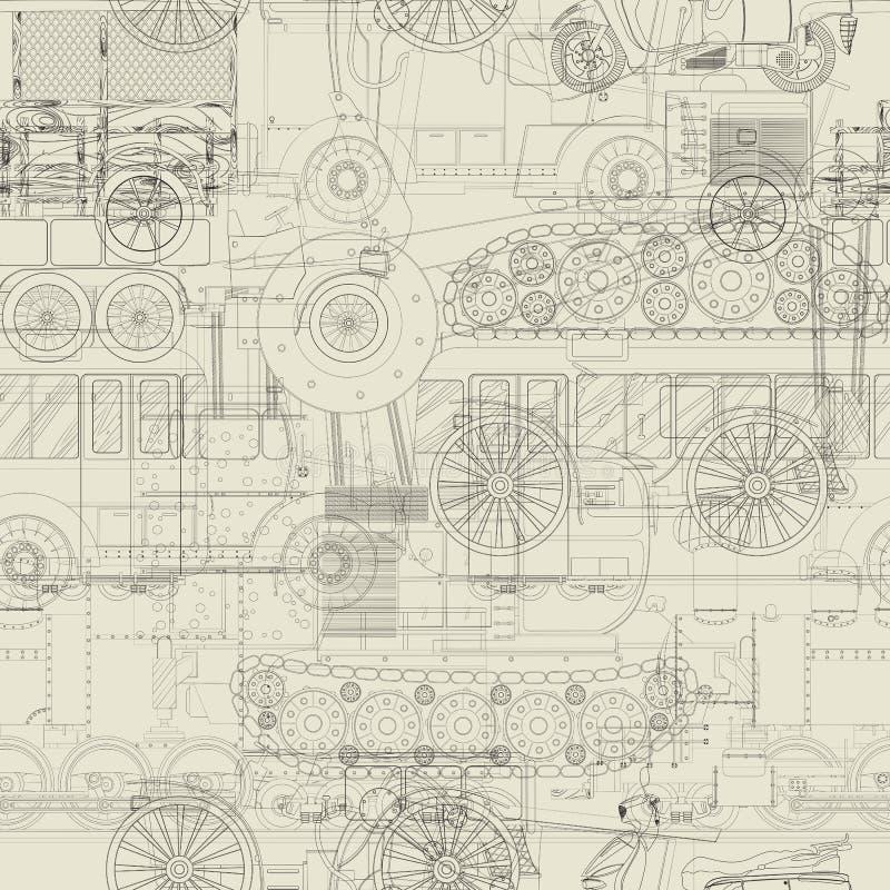 无缝的样式车辆设计 向量例证