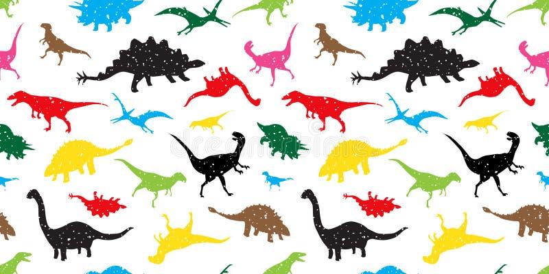 无缝的样式迪诺恐龙传染媒介隔绝了五颜六色墙纸的背景 向量例证