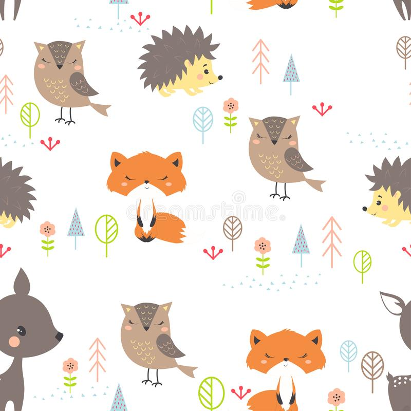 无缝的样式逗人喜爱的动画片森林 向量例证