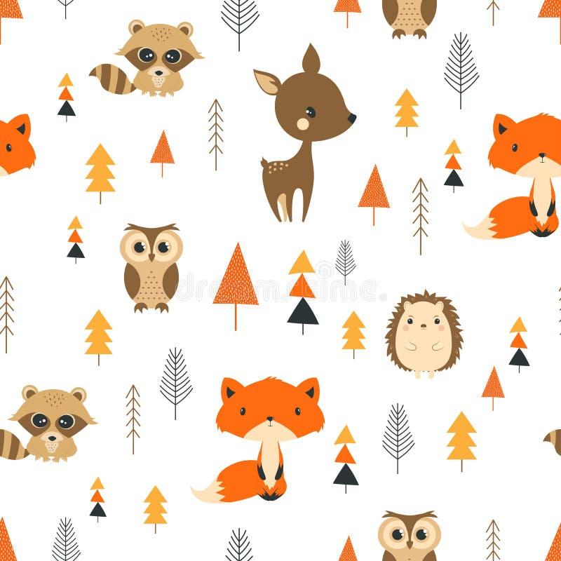 无缝的样式逗人喜爱的动画片森林 库存例证