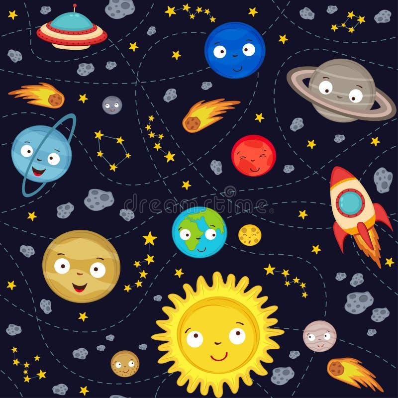 无缝的样式逗人喜爱的太阳系 库存例证
