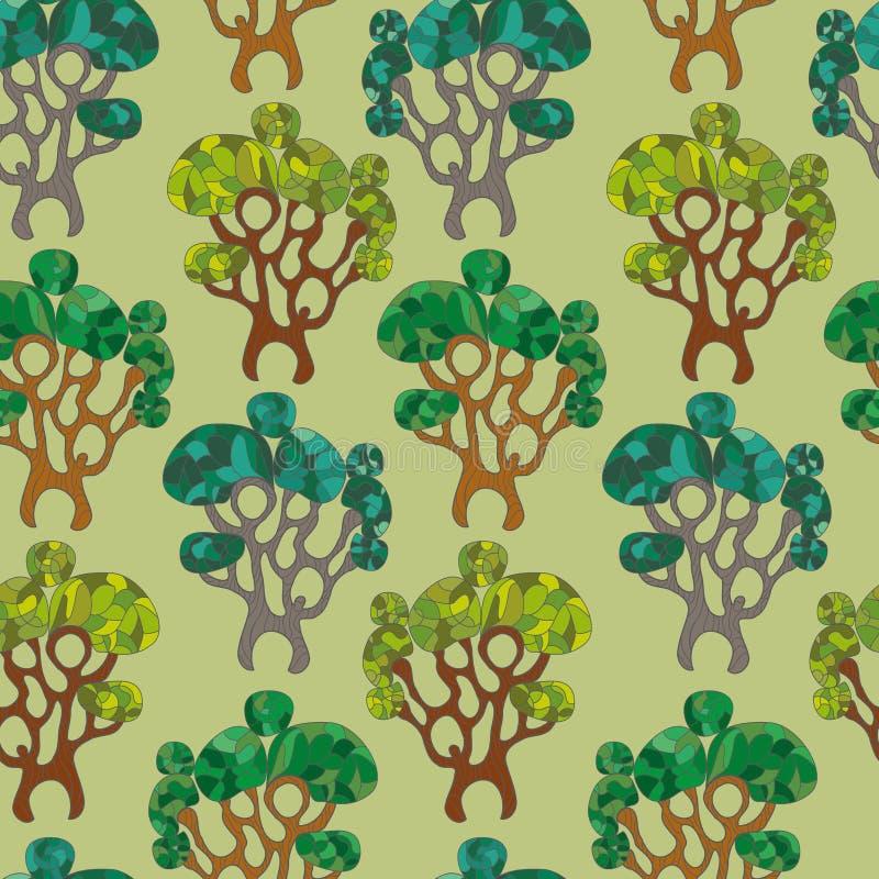 无缝的样式逗人喜爱的树 向量例证