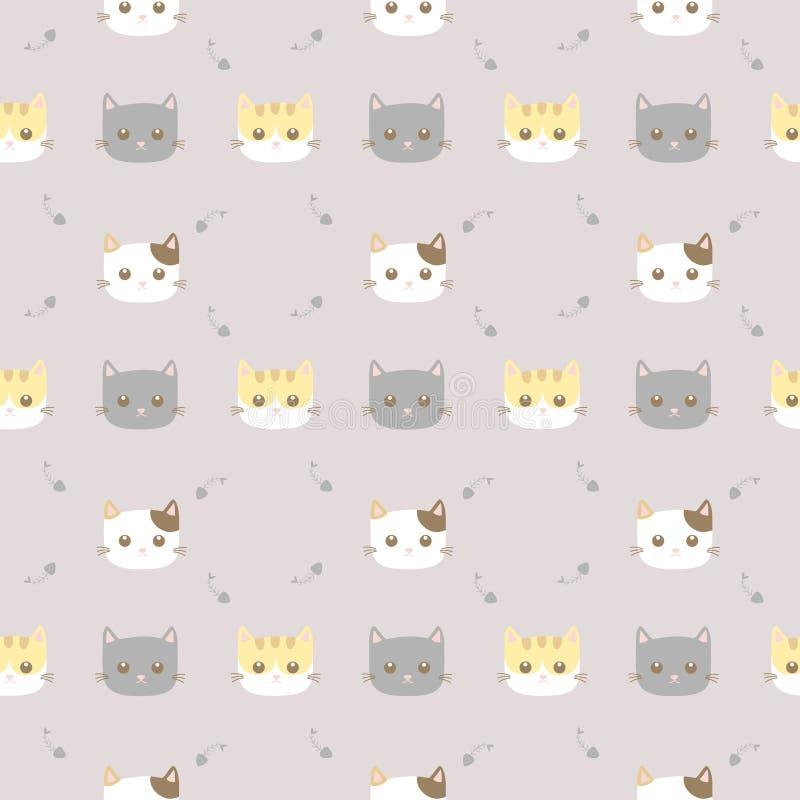 无缝的样式逗人喜爱的猫 库存例证