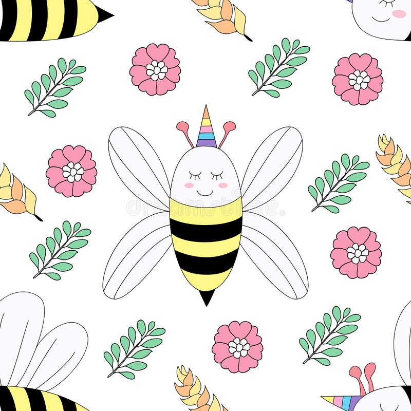 无缝的样式逗人喜爱的蜂动画片手拉的样式 皇族释放例证
