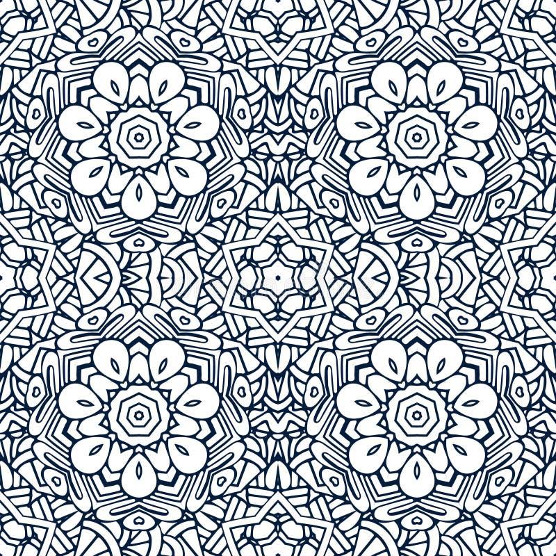 无缝的样式锦缎 与概述坛场的有花边的装饰品 向量例证