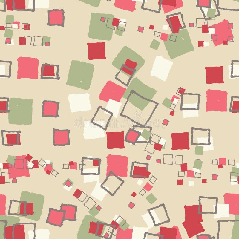 无缝的样式难看的东西立方体 库存例证