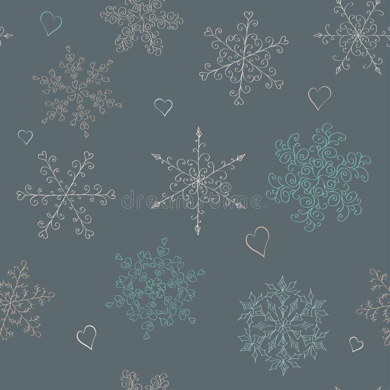 无缝的样式雪花 向量例证
