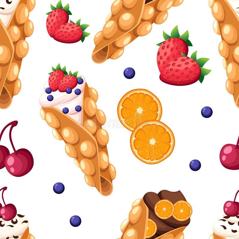 无缝的样式香港奶蛋烘饼用橙色和被鞭打的樱桃草莓或者巧克力奶油色例证隔绝在whi 库存例证