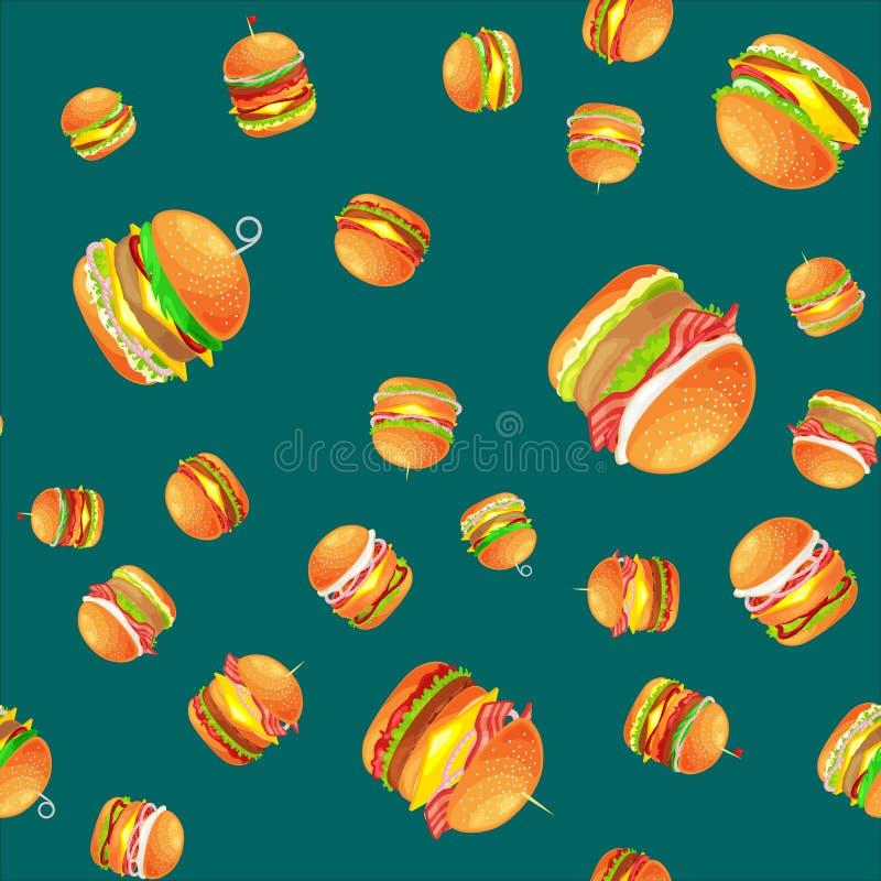 无缝的样式鲜美汉堡烤了牛肉和新鲜蔬菜穿戴用快餐的,美国汉堡包调味汁小圆面包 向量例证