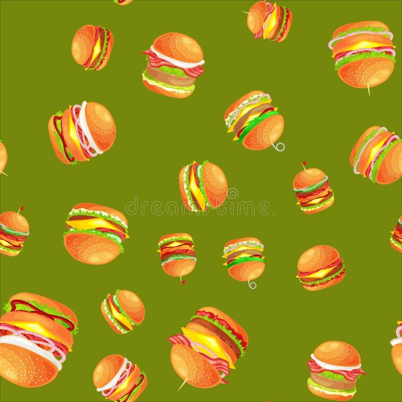 无缝的样式鲜美汉堡烤了牛肉和新鲜蔬菜穿戴用快餐的,美国汉堡包调味汁小圆面包 皇族释放例证