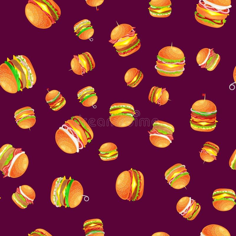 无缝的样式鲜美汉堡烤了牛肉和新鲜蔬菜穿戴用快餐的,美国汉堡包调味汁小圆面包 库存例证