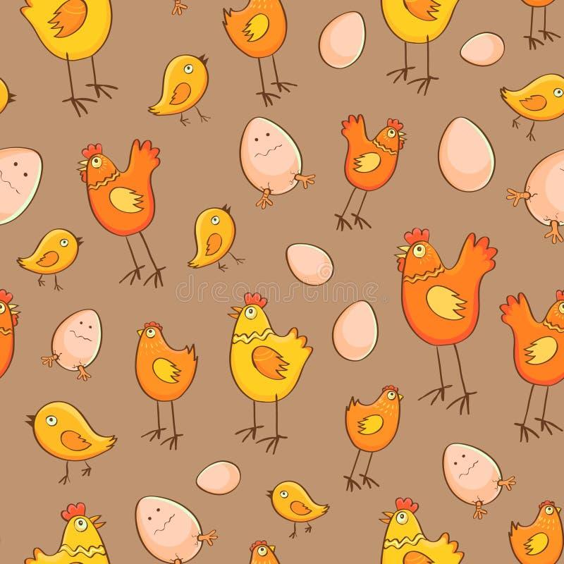 无缝的样式鸡鸡蛋和小鸡 向量例证