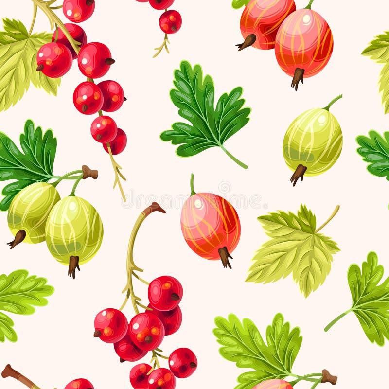 无缝的样式鹅莓果和无核小葡萄干莓果 向量例证