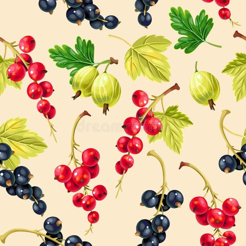 无缝的样式黑和红浆果莓果 皇族释放例证
