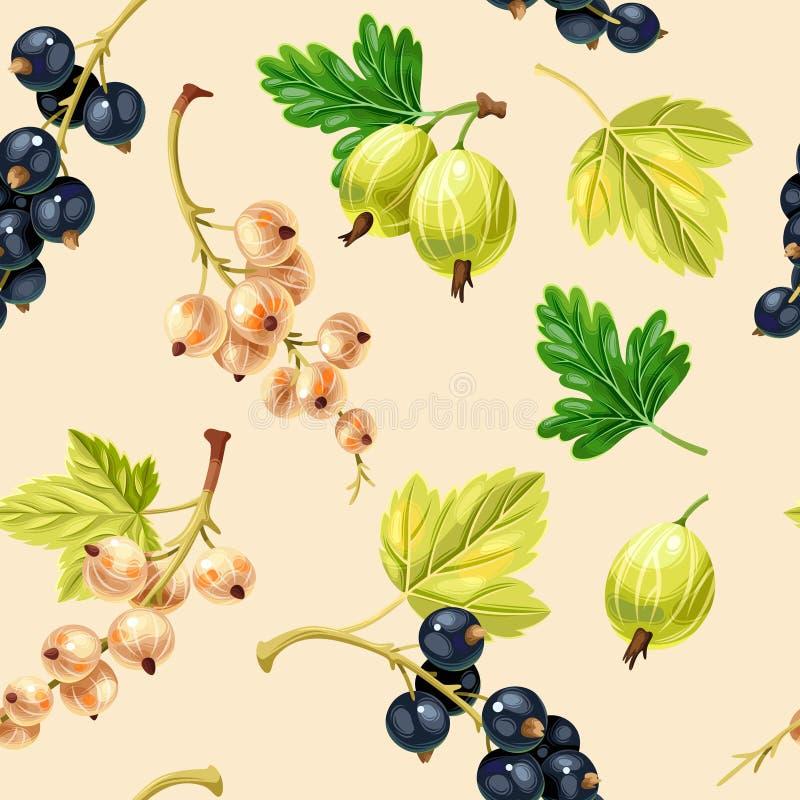 无缝的样式黑白无核小葡萄干莓果 库存例证