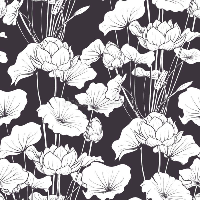 无缝的样式,与莲花的背景 植物的illust 向量例证