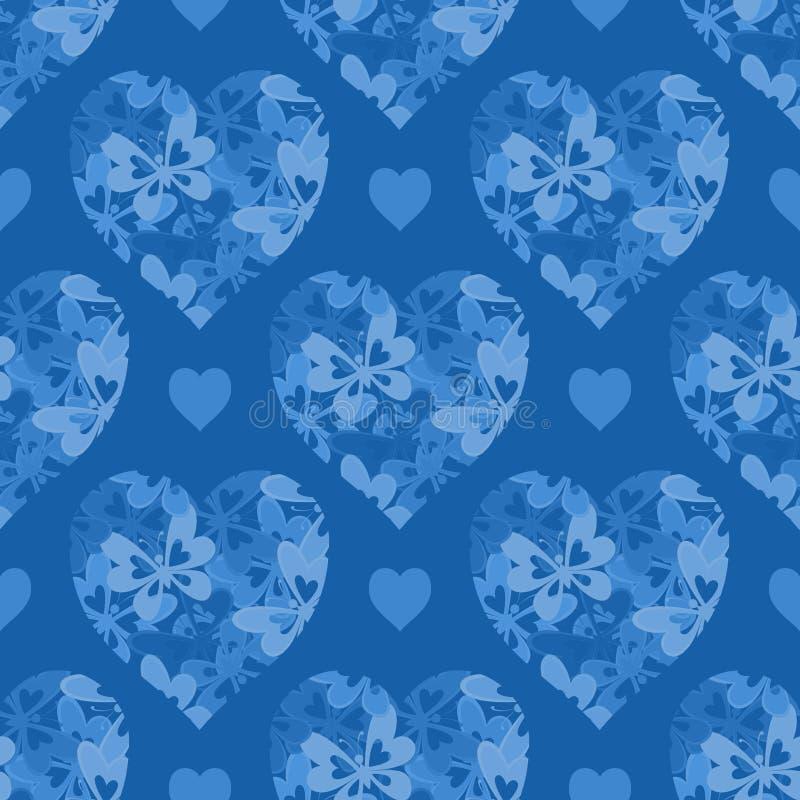 无缝的样式,与蝴蝶的心脏 向量例证