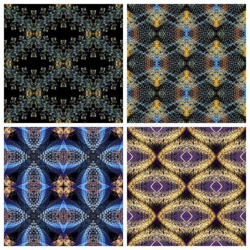 无缝的样式,小黄色、蓝色和淡紫色卷毛,在b 向量例证