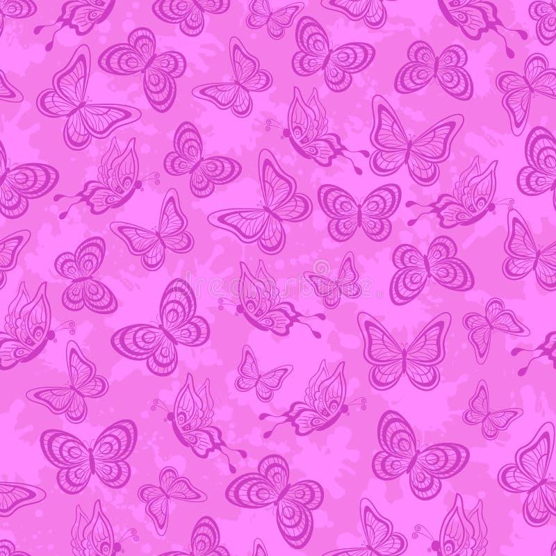 无缝的样式,桃红色概述蝴蝶 库存例证