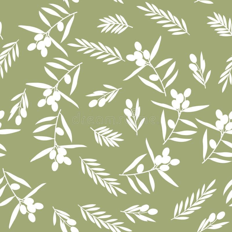 无缝的样式,橄榄 向量例证