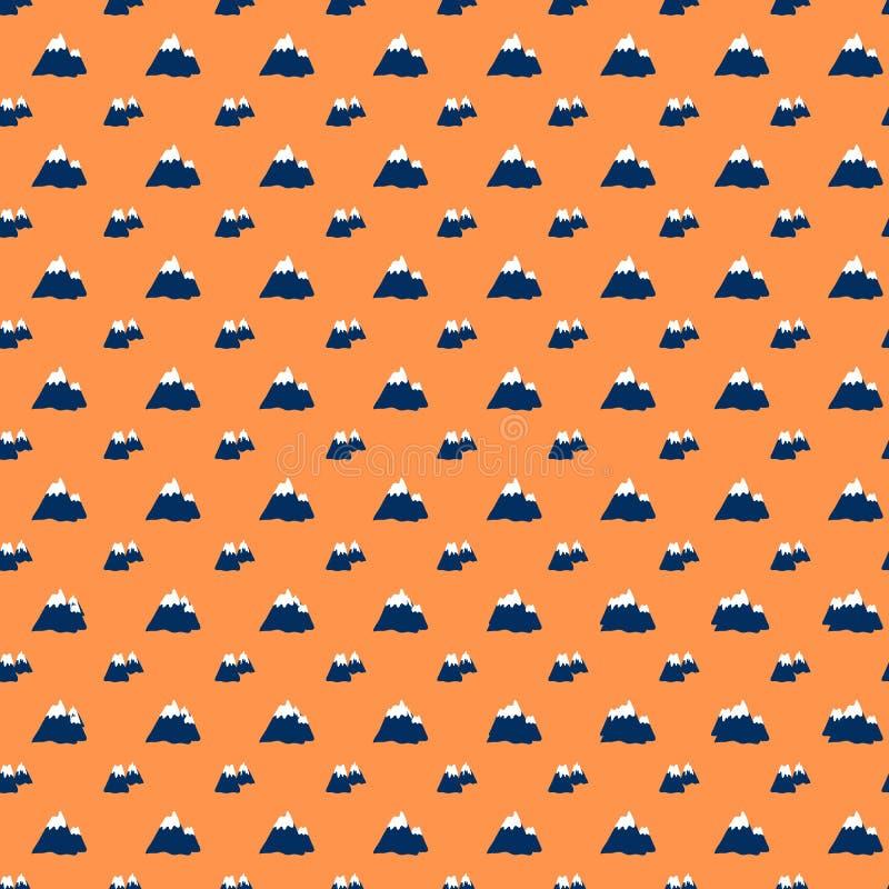 无缝的样式,火山动画片旅行传染媒介例证,在橙色背景隔绝的斯堪的纳维亚山 皇族释放例证