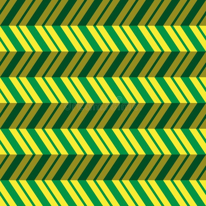 无缝的样式,绿色,黄色之字形背景 皇族释放例证