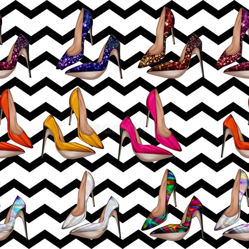 无缝的样式-在与短剑鞋子的背景以各种各样的明亮的颜色 皇族释放例证