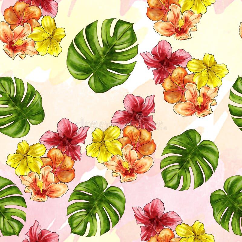无缝的样式-手拉的在ombree背景的水彩热带花 向量例证