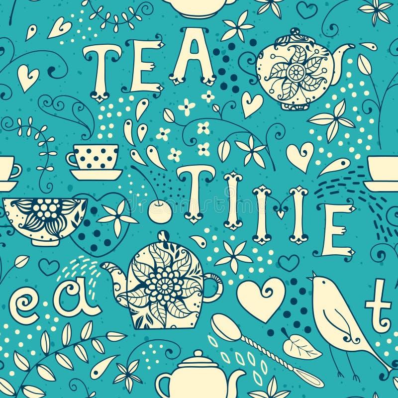 无缝的样式-茶时间 库存例证