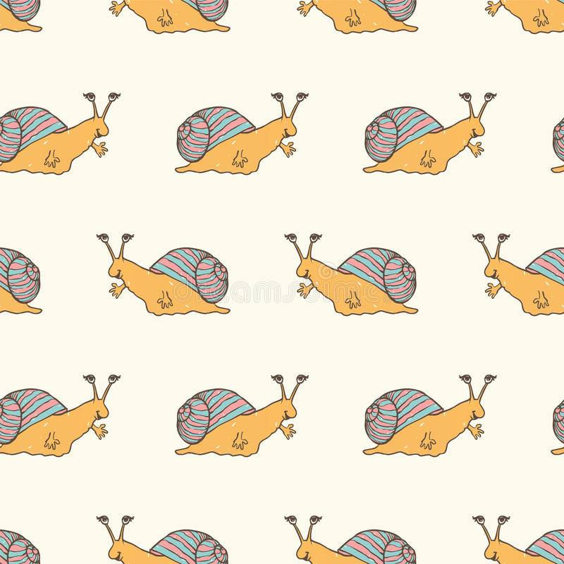 无缝的样式-蜗牛 库存例证