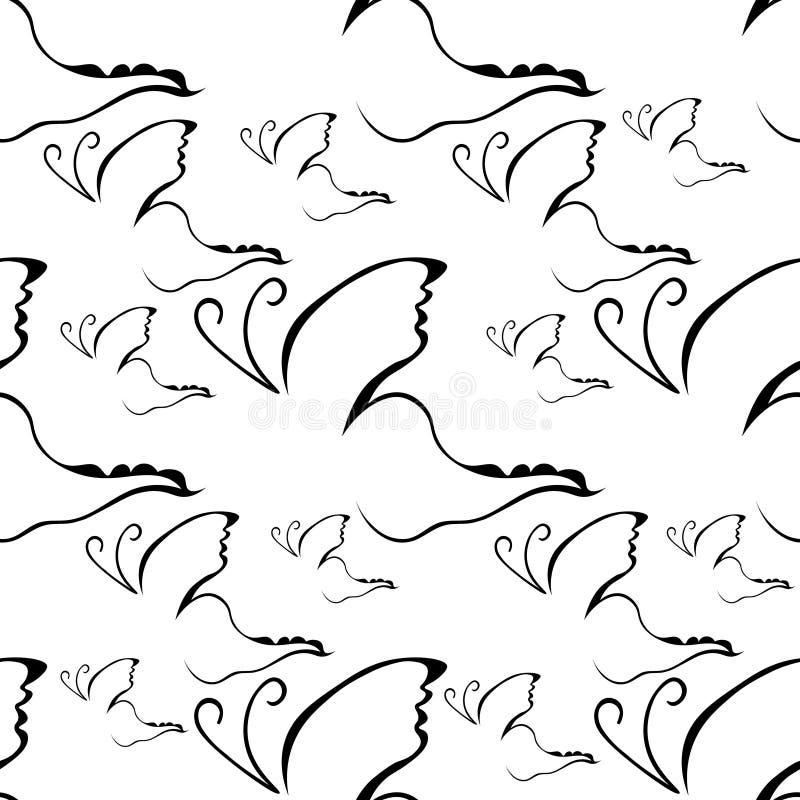 无缝的样式蝴蝶商标名牌象 皇族释放例证