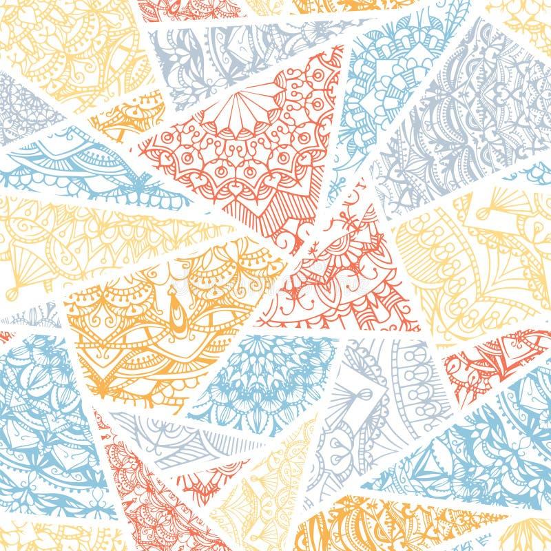 无缝的样式-装饰三角 抽象背景分数维图象柔和的淡色彩 库存例证