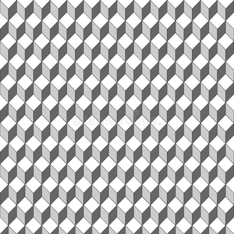 无缝的样式3D传染媒介方形的形状 向量例证