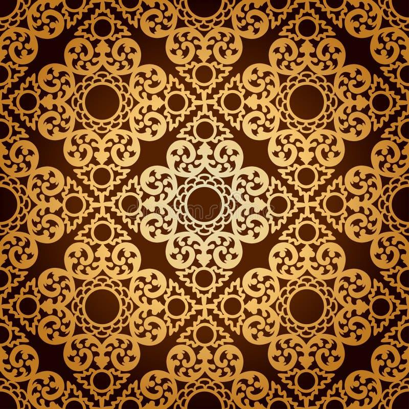 无缝的样式Background.Damask墙纸。 向量例证