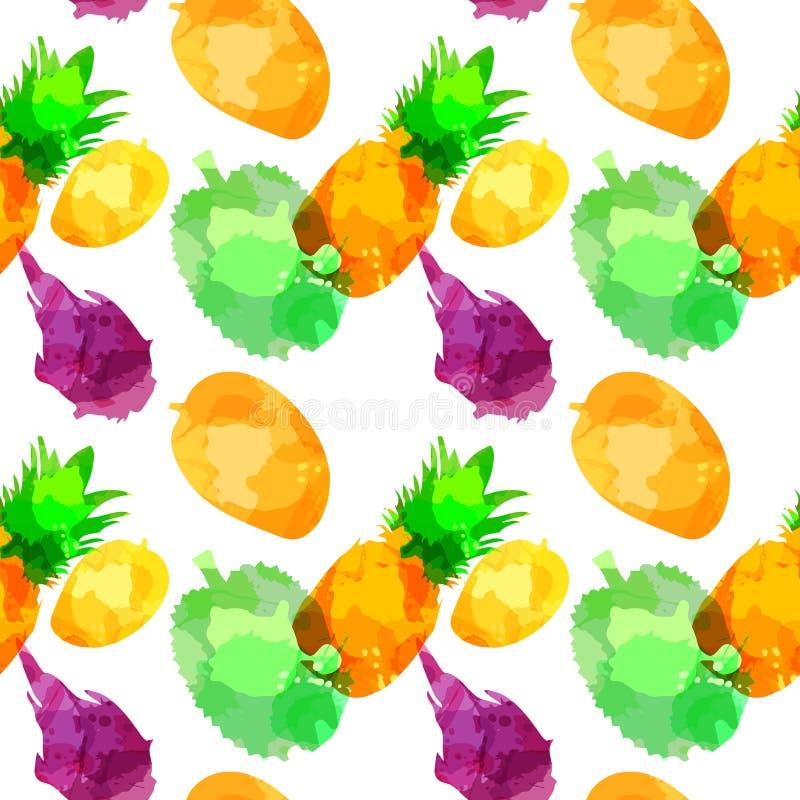 无缝的样式withpineapple、芒果、严厉的果子、留连果与污点和污点在白色背景 o 库存例证
