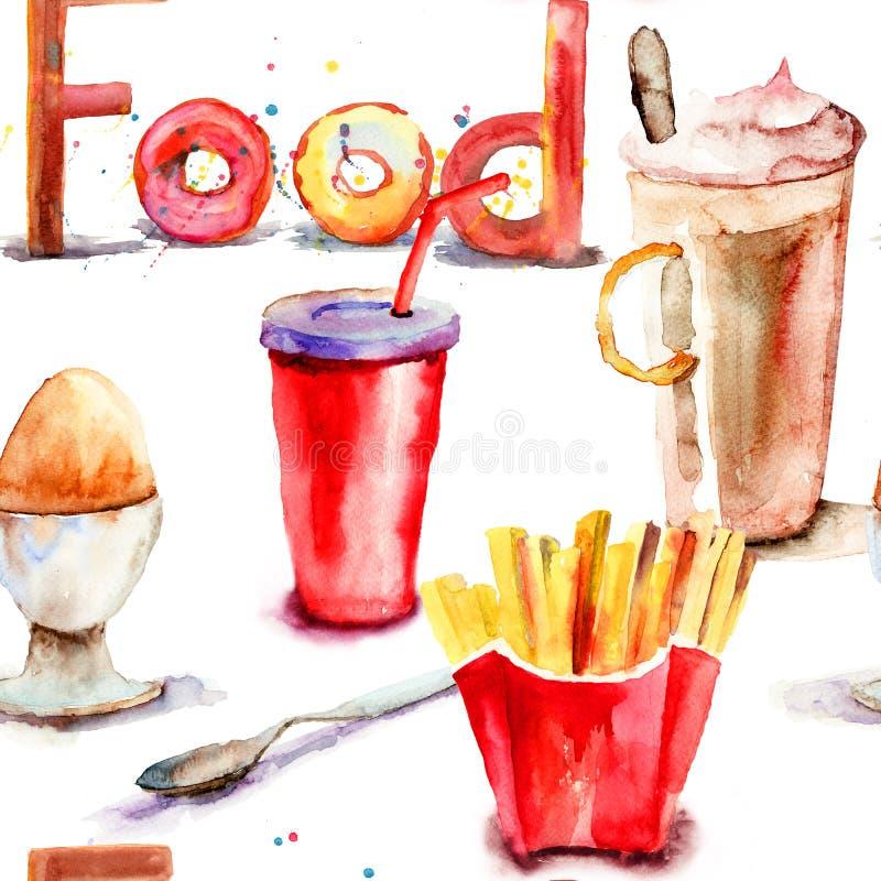 无缝的样式witn食物 向量例证