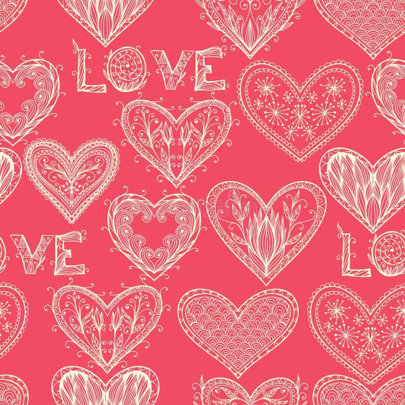 无缝的桃红色单色华伦泰样式 向量例证