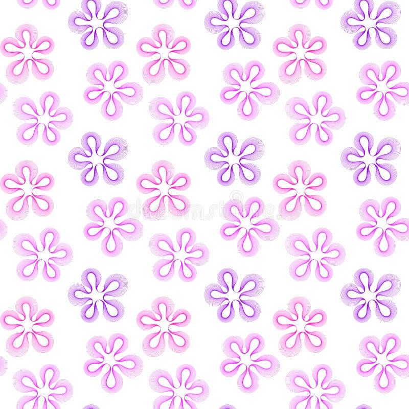 无缝的桃红色和紫色花 库存例证