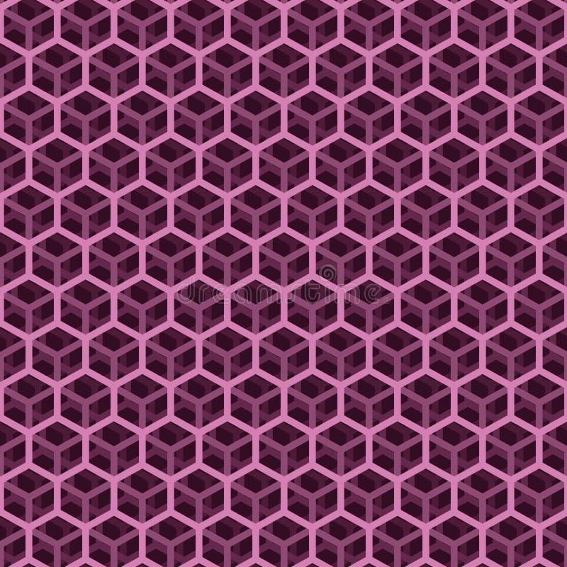 无缝的桃红色立方体样式 库存例证