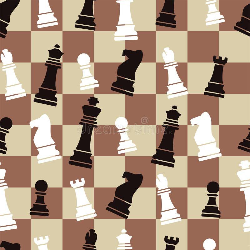 无缝的棋背景样式 库存例证