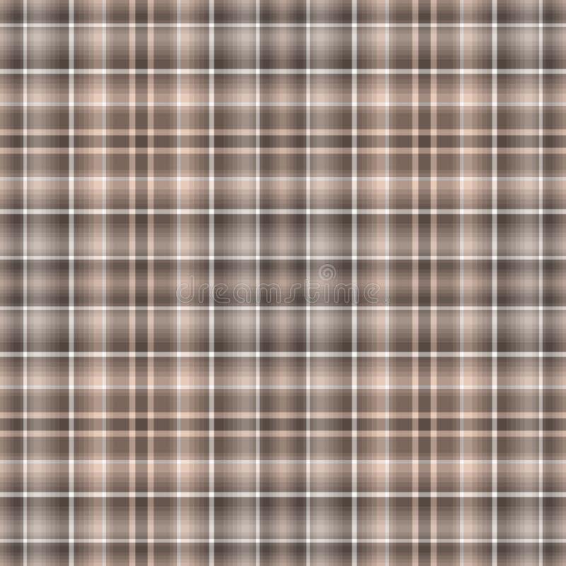 无缝的棕色白的方格的样式 皇族释放例证