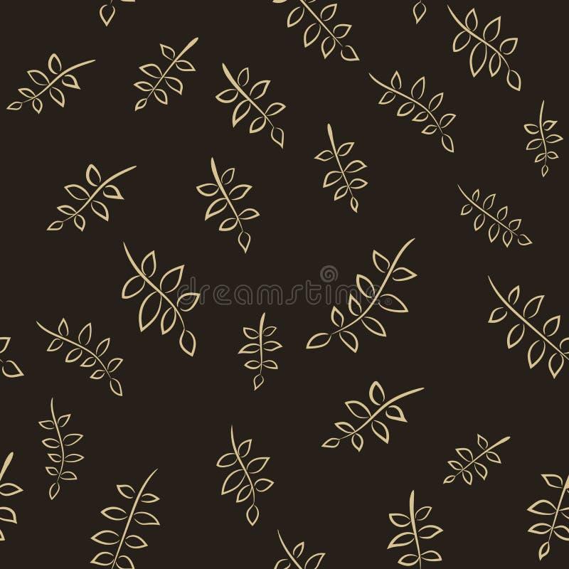 无缝的棕色花卉传染媒介样式 免版税库存图片
