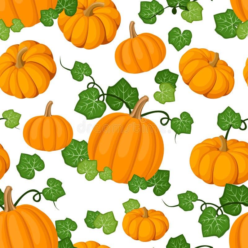 无缝的模式用橙色南瓜和绿色le 皇族释放例证
