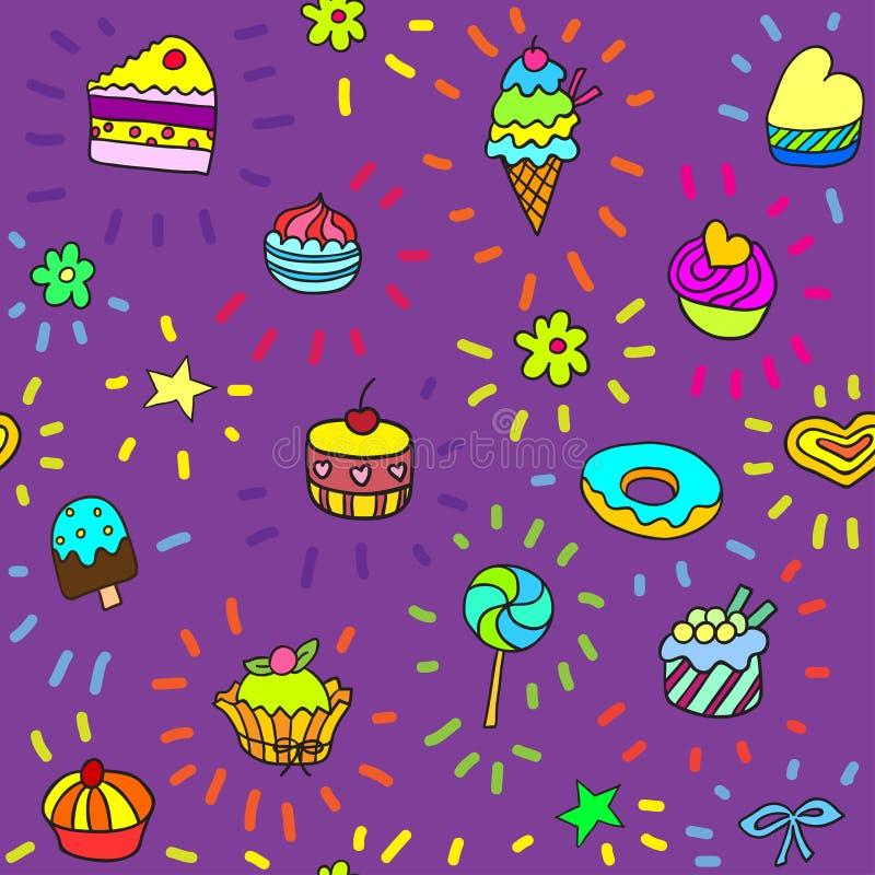 无缝的模式用糖果和甜点 库存例证