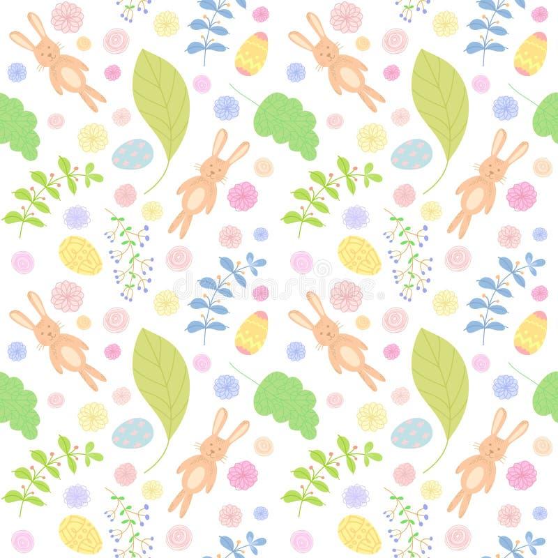 无缝的模式用逗人喜爱的兔子 背景上色了复活节彩蛋eps8格式红色郁金香向量 向量例证