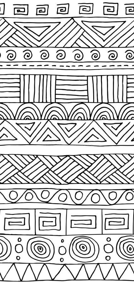 无缝的模式 与手拉的装饰部族元素的黑白几何背景 向量例证